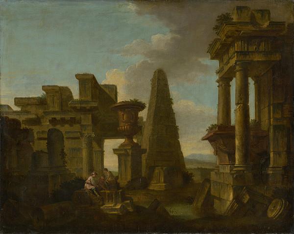 Taliansky majster z 18. storočia – Hráči v kocky v romantickej zrúcanine