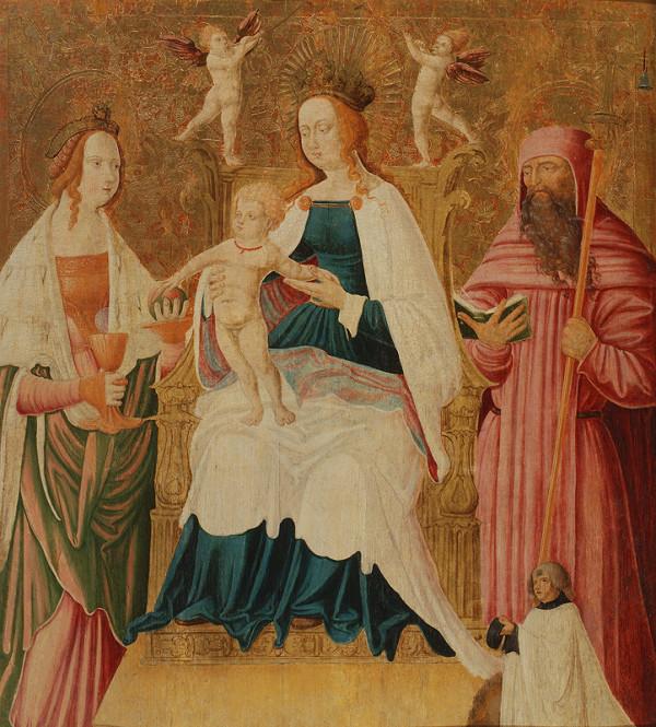 Neznámy maliar, maliar z 1. štvrtiny 16. storočia Podunajská škola - Tróniaca Madona so svätou Barborou (?) a svätým Antonom