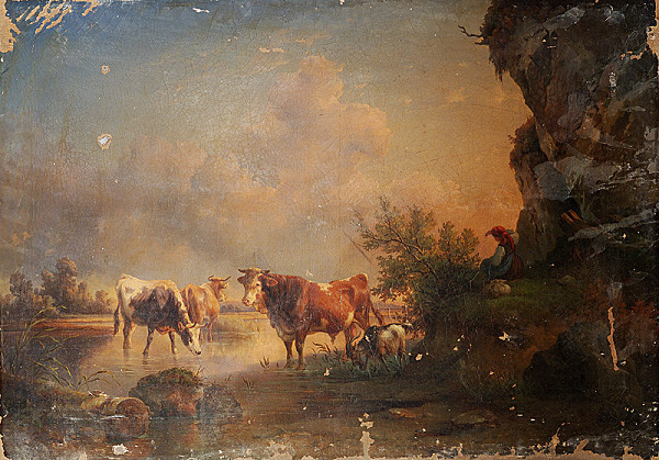 Stredoeurópsky maliar z 19. storočia – Krajina s pastierkou