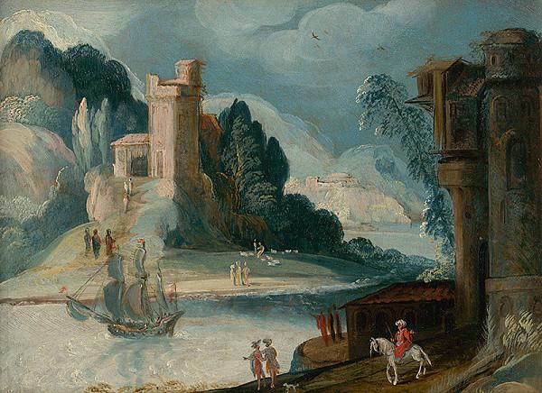 Nizozemský maliar z konca 16. storočia - Krajina s riekou a hradom