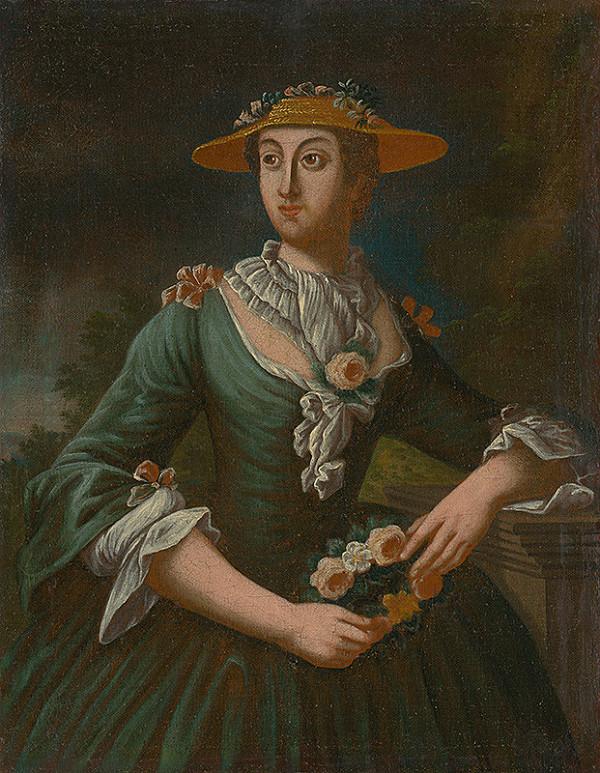 Poloľudový maliar z 1. tretiny 19. storočia - Portrét ženy v klobúku s kvetinami