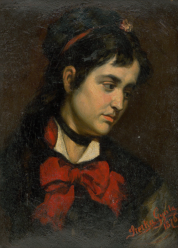 Július Štetka – Hlava dievčaťa s červenou šatkou