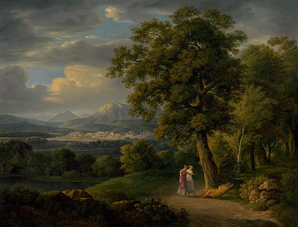 Johann Nepomuk Schödlberger – Romantická krajina so spiacim pastierom
