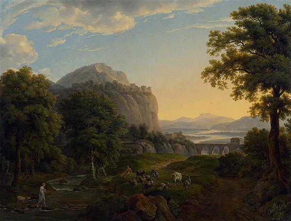 Johann Nepomuk Schödlberger - Romantická krajina s pastierom kôz
