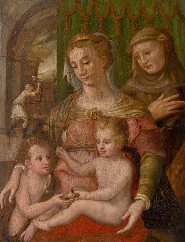 Taliansky maliar zo 16. storočia – Svätá rodina so svätým Františkom a malým Jánom Krstiteľom