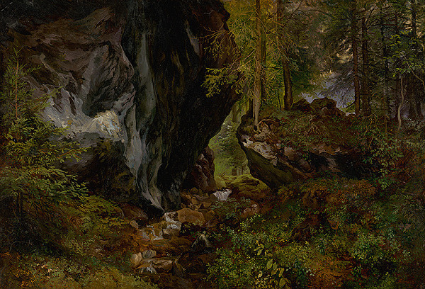 Alexander Brodszky – Vnútro lesa so skalami
