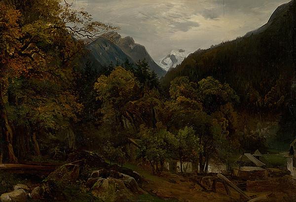 Alexander Brodszky – Horská krajina s drevenými chatrčami