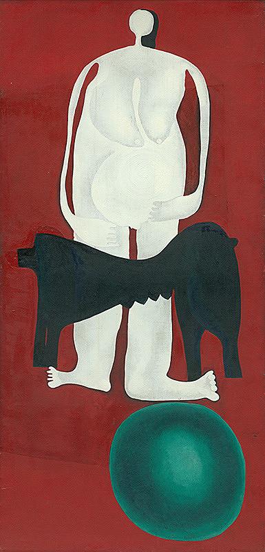 Agneša Sigetová - Žena a pes na zelenej guli