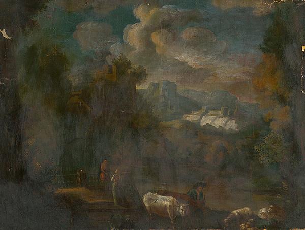 Nemecký maliar z 2. polovice 18. storočia - Romantická krajina s figurálnou štafážou