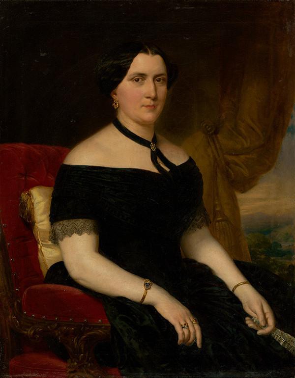 Miklós Barabás - Portrét ženy v zamatovom kresle