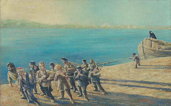Tomáš Andraškovič – Burlaci na Volge - kópia obrazu podľa Riepina