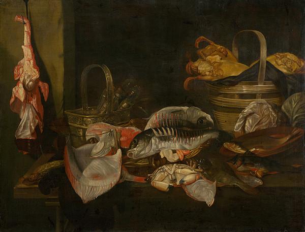 Abraham van Beyeren - Zátišie s rybami