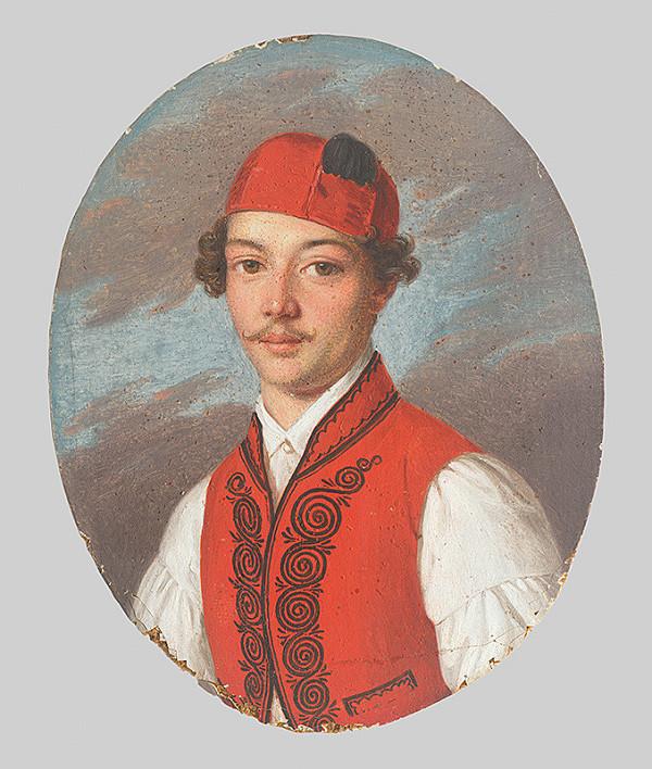 Stredoeurópsky maliar z 1. polovice 19. storočia, Spišský maliar - Podobizeň mladého muža v červenej veste a dalmátskej čiapke
