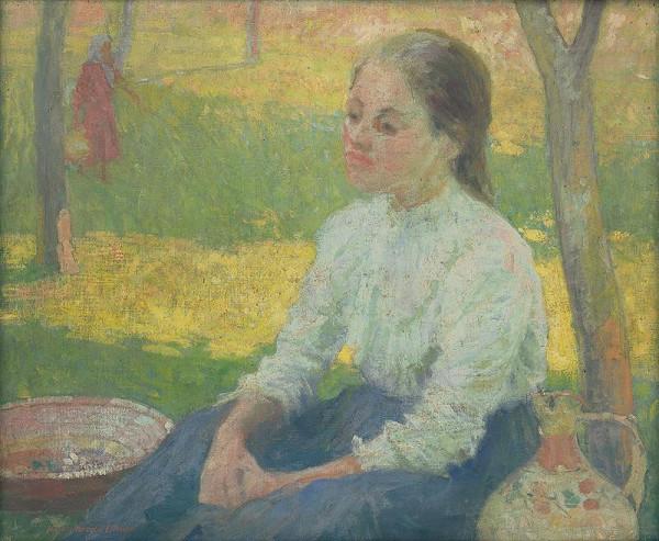 Elemír Halász-Hradil - Sedliacke dievča v záhrade