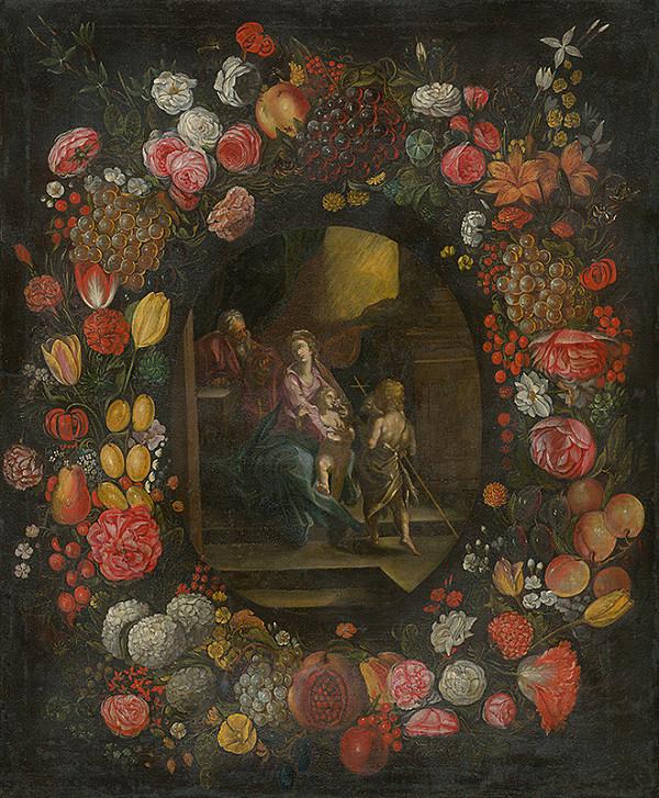 Flámsky maliar z 1. polovice 17. storočia - Svätá rodina v kvetinovom venci