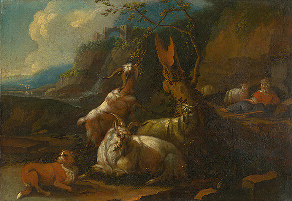 Philipp Peter Roos - Stádo kôz s pastierkou