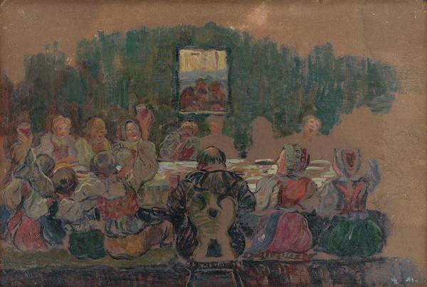 Gustáv Mallý - Svadobná hostina - štúdia k obrazu