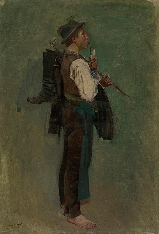 Ladislav Mednyánszky - Štúdia mládenca s fajkou