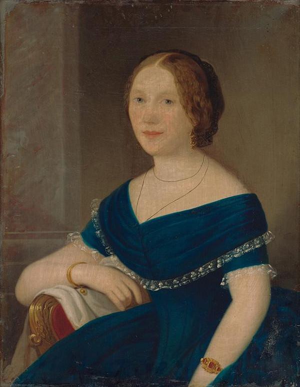 Slovenský maliar z 19. storočia – Portrét dámy v modrom