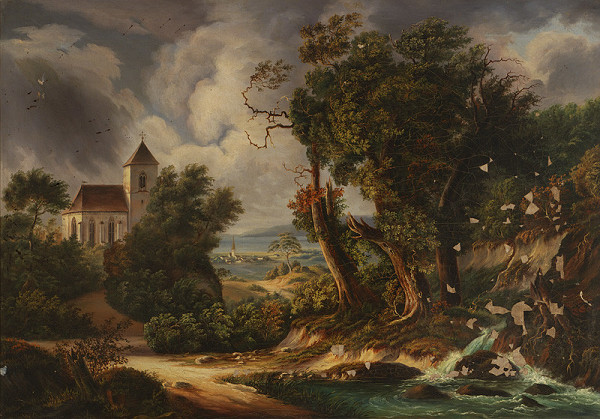 Stredoeurópsky maliar z polovice 19. storočia - Krajina s kostolíkom