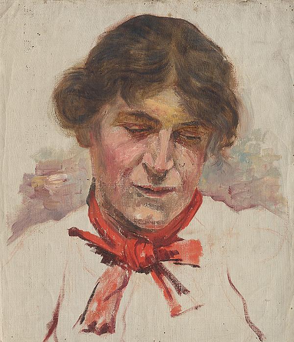Aurel Ballo - Štúdia ženskej hlavy s červenou mašľou