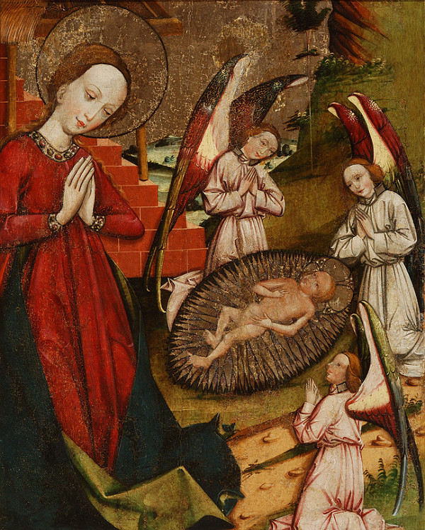Slovenský maliar z 2. polovice 15. storočia - Fragment Narodenia, fragment Úteku do Egypta-rub