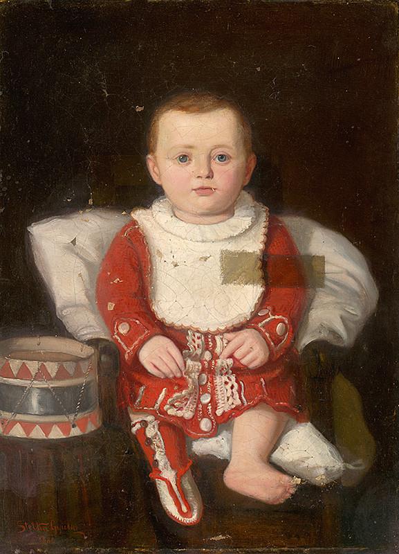 Július Štetka – Podobizeň dieťaťa s bubnom, 1880, Slovenská národná galéria