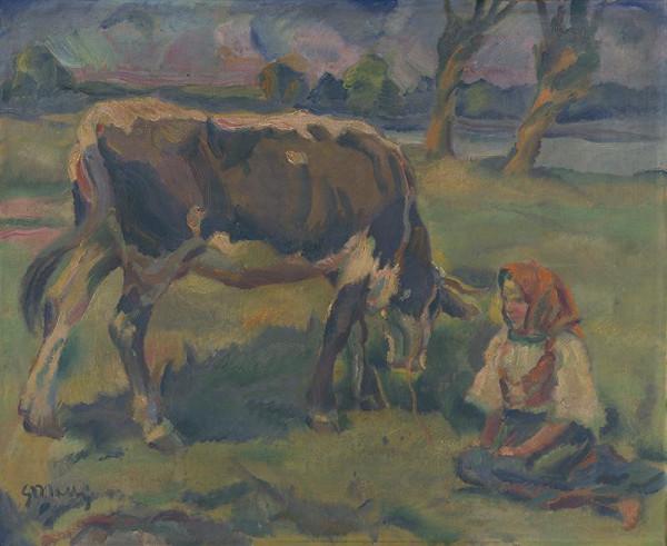 Gustáv Mallý - Dievčatko s kravičkou
