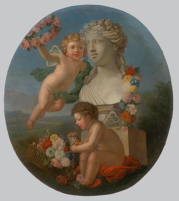 Monogramista F.R. z roku 1776 - Dekoratívna výplň s bustou, anjelikmi a kvetinami