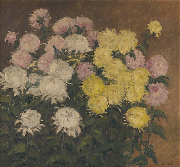 Jozef Kollár – Zátišie s chryzantémami