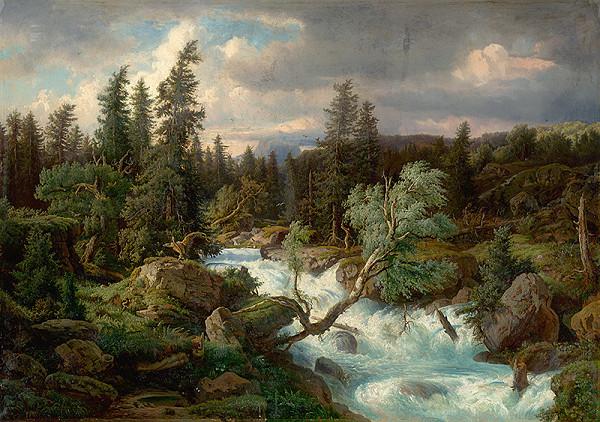 Rakúsky maliar z 2. polovice 19. storočia – Alpská bystrina