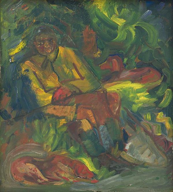 Arnold Peter Weisz-Kubínčan – Odpočívajúci poľovník s dvoma ležiacimi psami