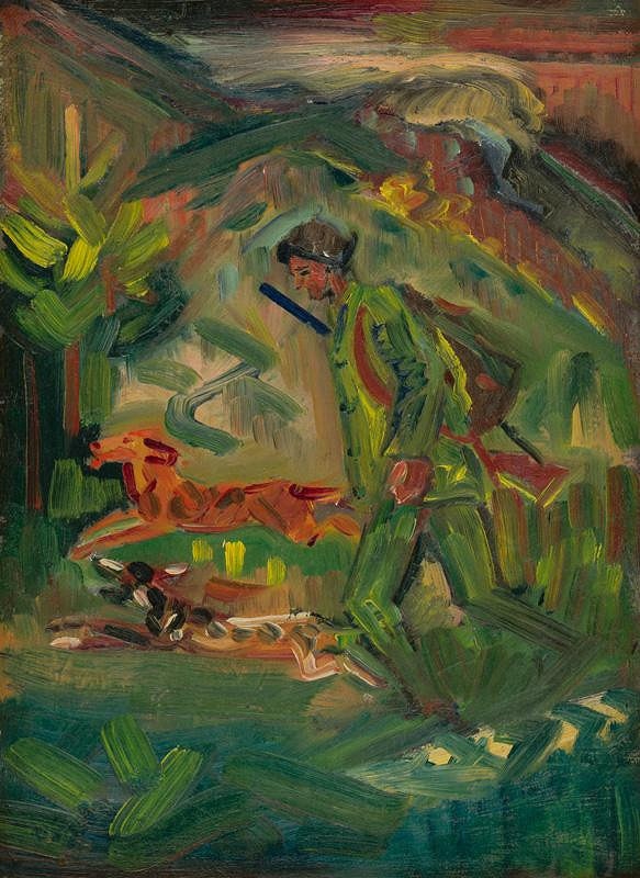 Arnold Peter Weisz-Kubínčan – Kráčajúci poľovník so psami