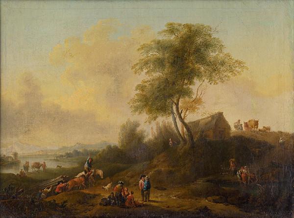 Nemecký maliar z konca 18. storočia - Romantická krajina s drevármi