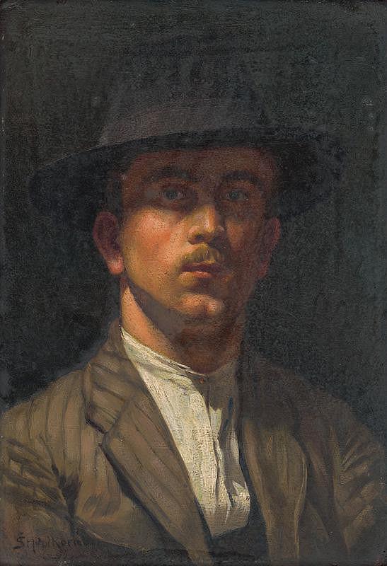 Štefan Polkoráb - Vlastná podobizeň v mladom veku