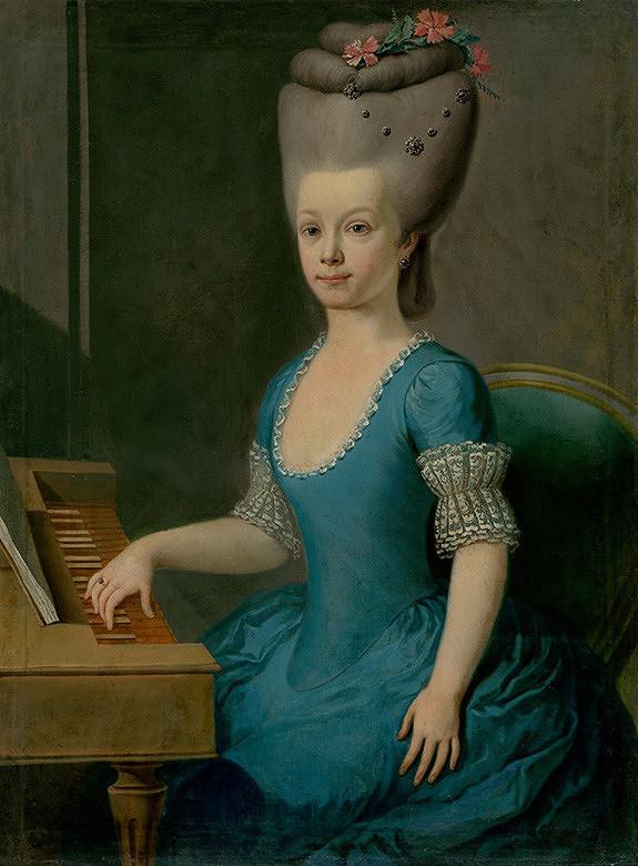 Slovenský maliar z 2. polovice 18. storočia, Neznámy maliar - Podobizeň dievčaťa v modrom pri čembale