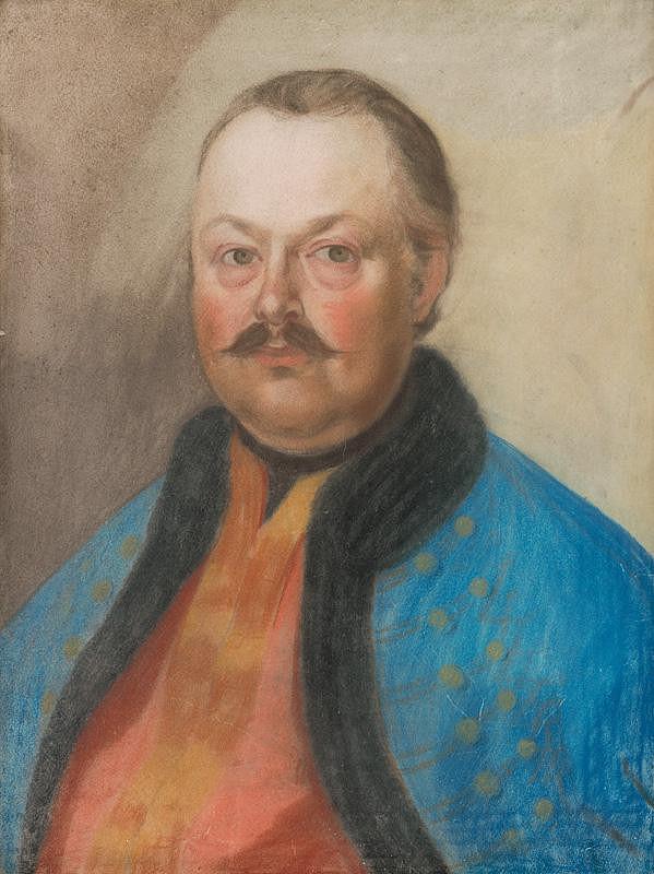 Slovenský maliar zo začiatku 19. storočia - Podobizeň zemana s fúzikmi v modmentieke