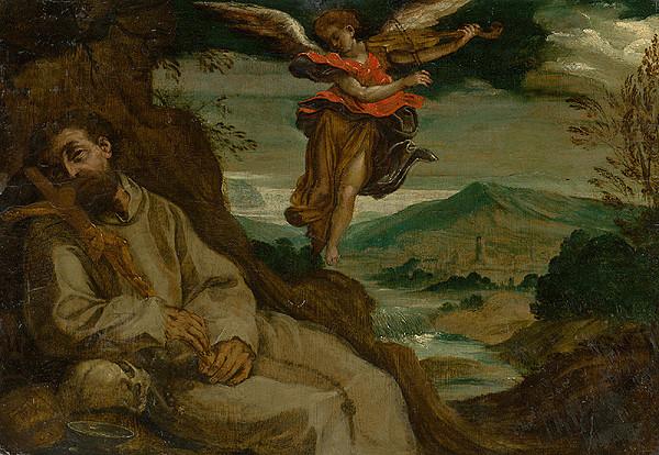 Stredoeurópsky maliar - Sv. František utešovaný anjelom