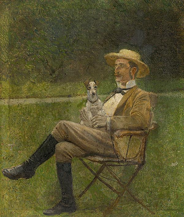 Ladislav Mednyánszky – Štúdia sediaceho muža so psíkom