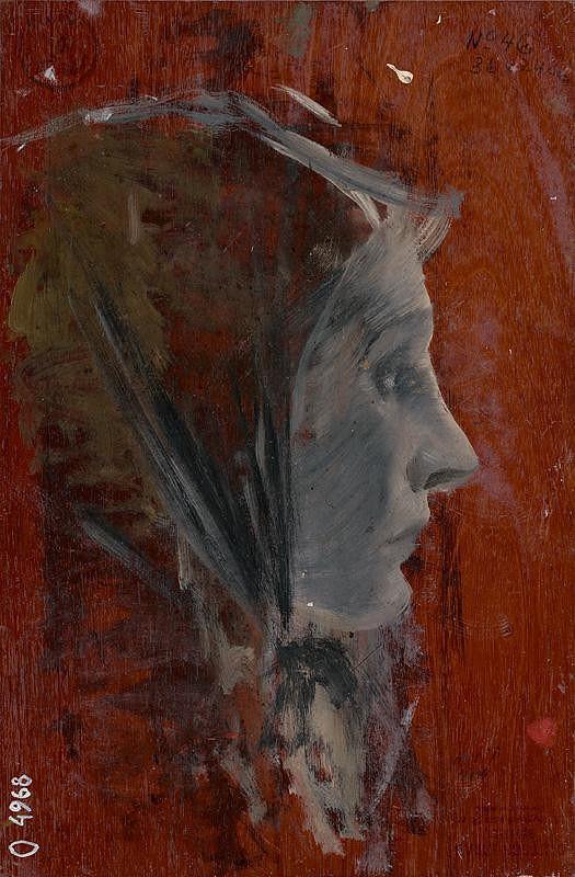 Ladislav Mednyánszky - Štúdia ženskej hlavy z profilu