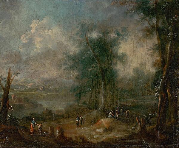 Stredoeurópsky maliar z 2. polovice 18. storočia – Romantická krajina s figurálnou štafážou