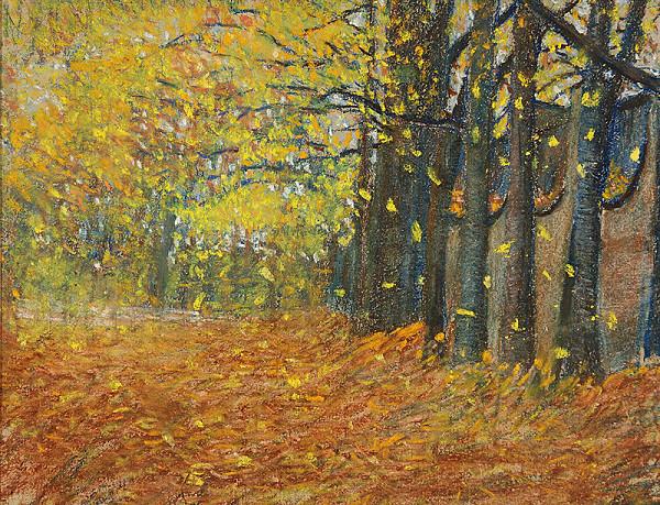 Margita Czobelová - Stromy v strážskom parku na jeseň