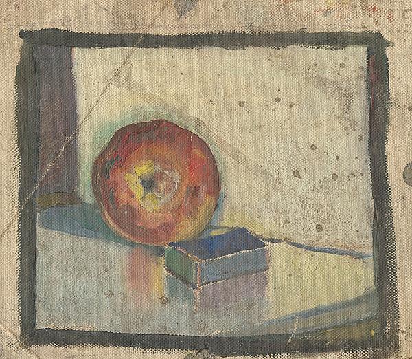 Margita Czóbelová – Zátišie s jablkom a zápalkovou krabicou