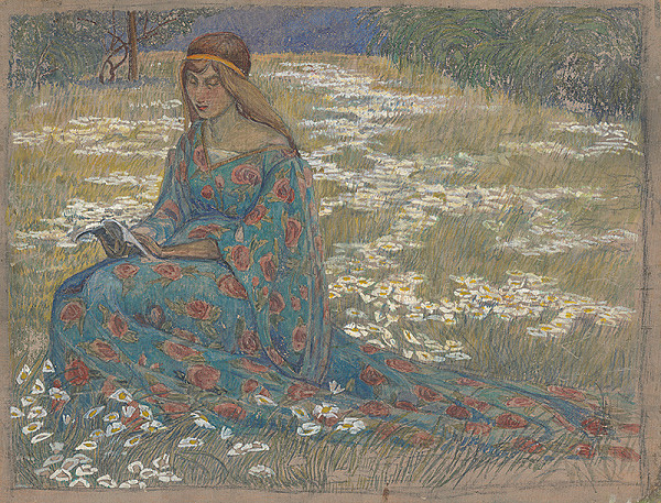 Margita Czóbelová – Čítajúce dievča v kvetinových šatách