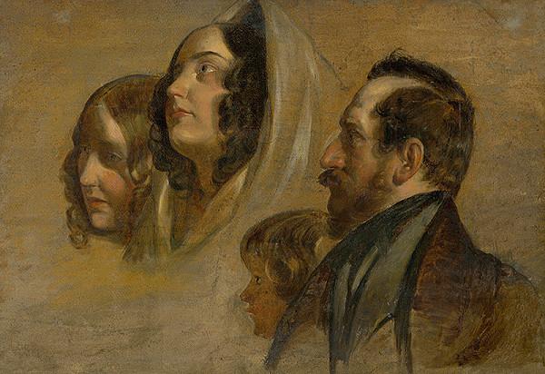 Friedrich von Amerling - Gróf Majláth s rodinou (štúdia)