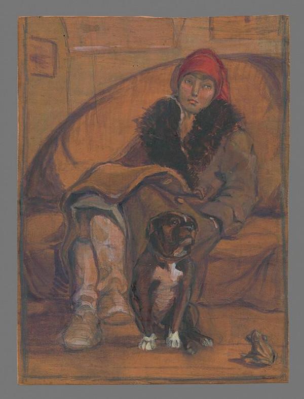 Margita Czóbelová - Štúdia sediacej mladej ženy
