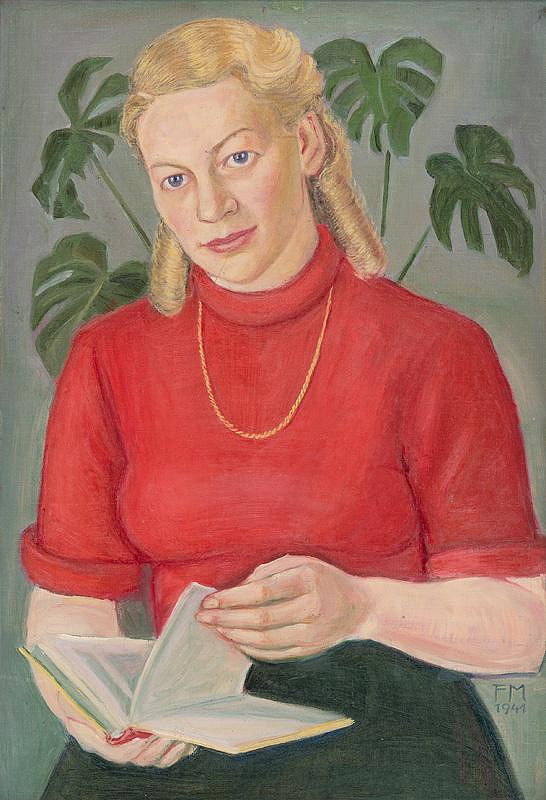 Nemecký maliar F M - Podobizeň dievčaťa v červenom svetri