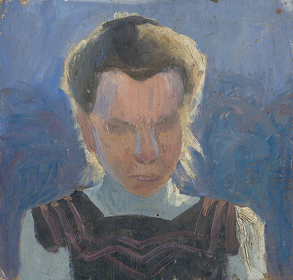 Frida Konstantin - Štúdia dievčenskej hlavy na modrom pozadí