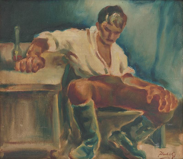 Július Flache – Muž pri stole