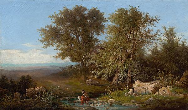 Karol Marko ml. – Krajina s riekou a skupinou stromov